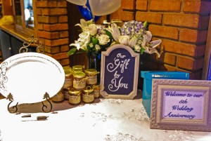 Wedding favours table at Wedding Anniversary recpetion