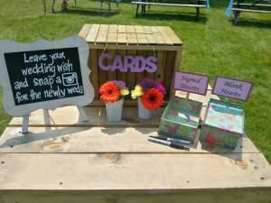DIY wooden wedding wish box with handwritten sign