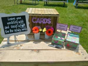DIY wooden wedding wish box with handwritten sign