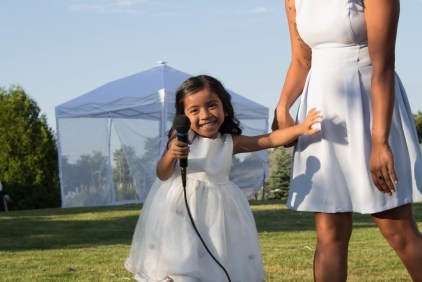 Cute flower girl at Outdoor wedding in Clarington