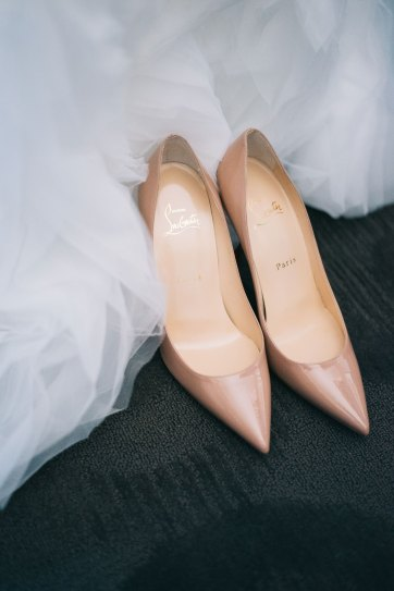 Closeup of nude coloured wedding shoes in Toronto
