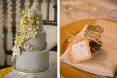 Wedding cake with yellow and white floral decoration and pearl-type accents and wedding favours