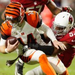 GLENDALE, AZ - NOVEMBER 22: Quarterback Andy Dalton #14 of the Cincinnati Bengals is sacked by inside linebacker Kenny Demens #54 of the Arizona Cardinals during the second half of the NFL game at the University of Phoenix Stadium on November 22, 2015 in Glendale, Arizona. (Photo by Christian Petersen/Getty Images)