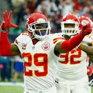 HOUSTON, TX - JANUARY 09: Eric Berry #29 of the Kansas City Chiefs celebrates his first quarter interception against the Houston Texans during the AFC Wild Card Playoff game at NRG Stadium on January 9, 2016 in Houston, Texas. (Photo by Scott Halleran/Getty Images)