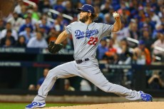 13 OCT 2015: Los Angeles Dodgers starting pitcher Clayton Kershaw (22) pitches during the first inning of Game 4 of the NLDS between the New York Mets and the Los Angeles Dodgers played at Citi Field in Flushing,NY. (Photo by Rich Graessle/Icon Sportswire)