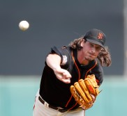 San Francisco Giants' Jeff Samardzija (29) pitches against Los Angeles Angels in the first inning at Cactus League opener at Scottsdale Stadium in Scottsdale, Ariz., on March 2, 2016. (Josie Lepe/Bay Area News Group)