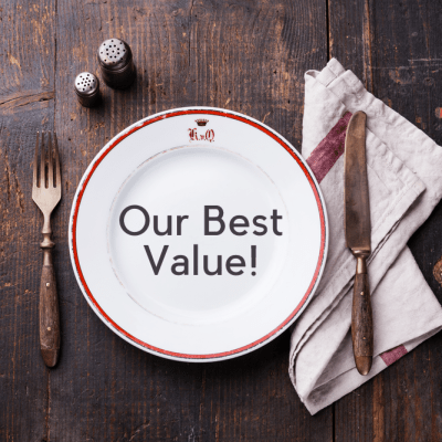 "plate with ""our best value"""