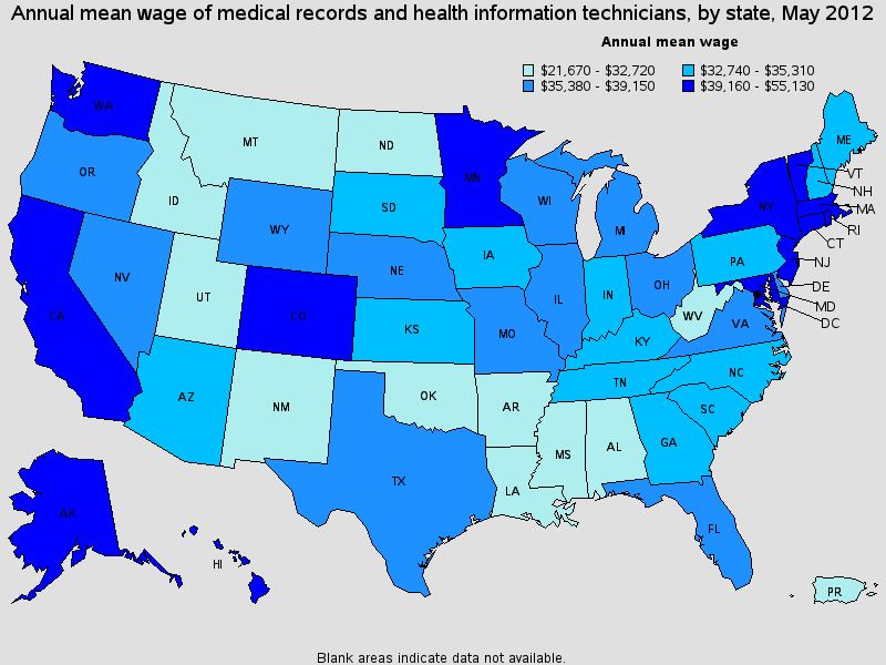 Health Information Technician Salary State By State