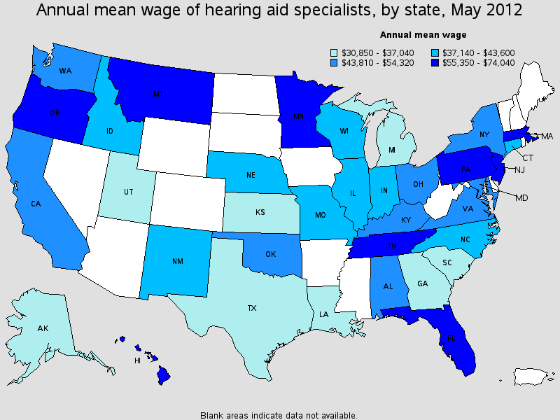 hearing aid specialist salary state by state