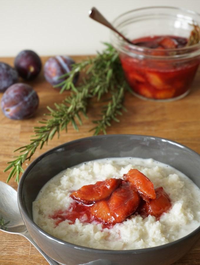 cauli 'porridge', rosemary plum compote