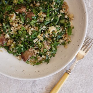 Sauteed Chicken Livers, Riced Cauli, Collards and Herbs - HFE