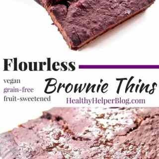 Flourless Brownie Thins from Healthy Helper Blog...vegan, grain-free, and fruit-sweetened! These are the fudgiest, most chocolatey brownies on Earth! Healthy and perfect for snacking on. http://healthyhelperblog.com?utm_source=utm_source%3DPinterest&utm_medium=utm_medium%3Dsocialmedia&utm_campaign=utm_campaign%3Dblogpost