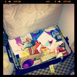 My big suitcase was filled with swag that weight 49lbs