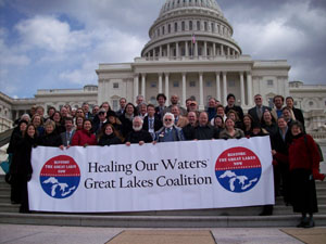 The Healing Our Waters-Great Lakes Coalition and advocates stand outside the U.S. Capitol Building. Photo credit: Healing Our Waters-Great Lakes Coalition.