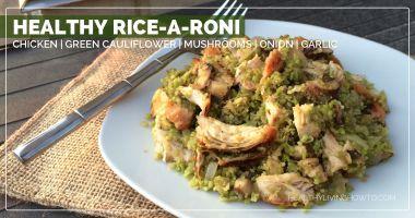 Healthy Recipe: Green Cauliflower Rice with Chicken, Mushrooms, Onion & Garlic