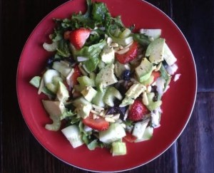 Baby Lettuce, Strawberries, Avocado and Almonds Salad