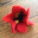 Needle felting with kids: poppy flower