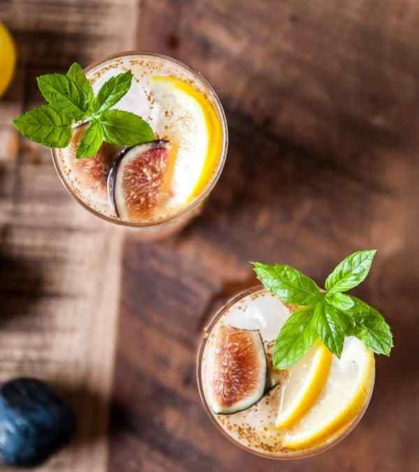 Fig and Lemon Sparkler with Basil Mint Simple Syrup