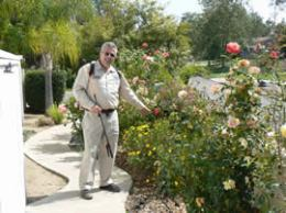 Identifying flowers in a local  Poway garden.
