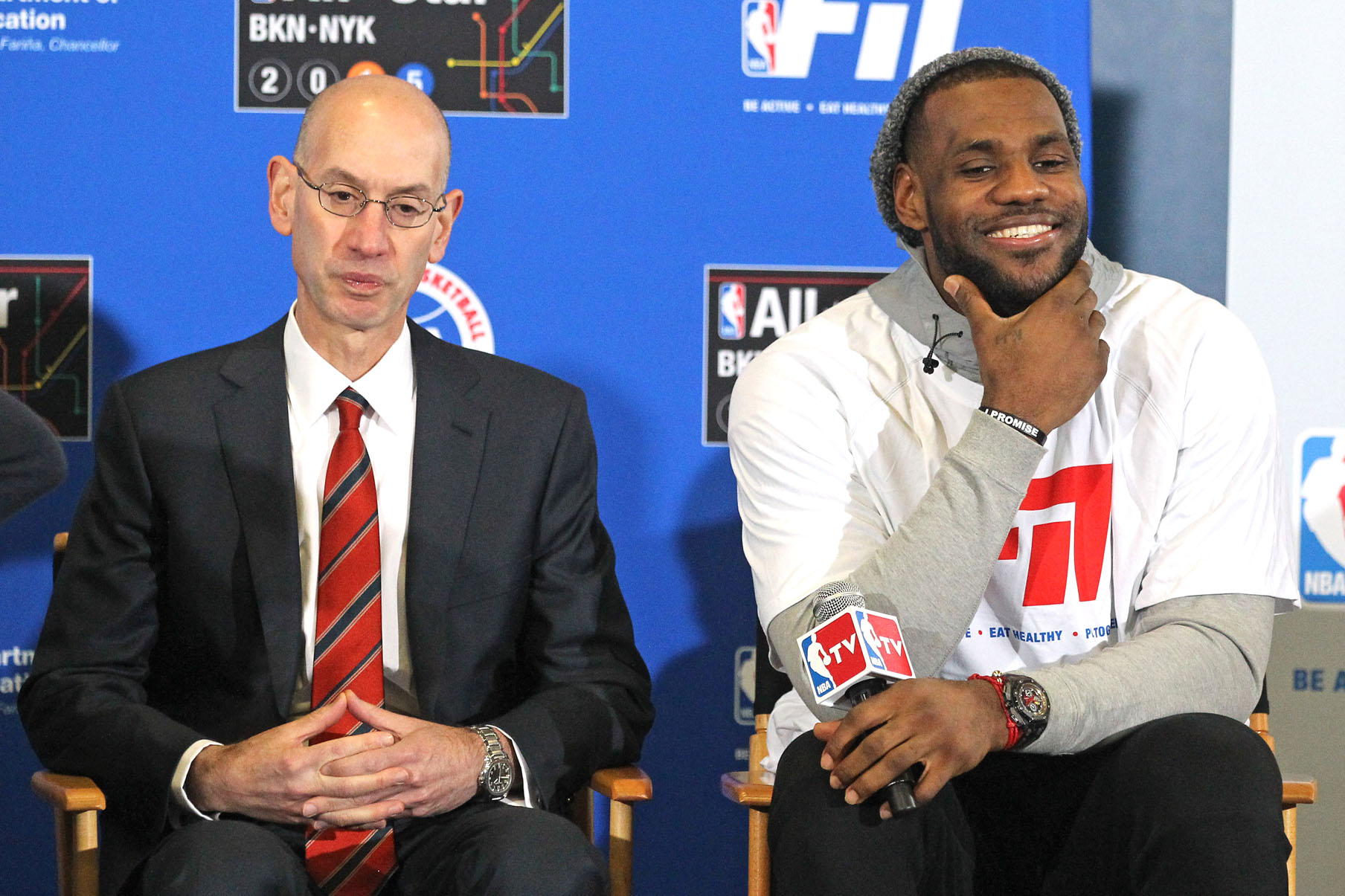 2/13/15 - LeBron James and NBA Commissioner Adam Silver at the Graphics Campus on W. 49th street, as they participated in the NBA's FIT clinic and Court dedication.
