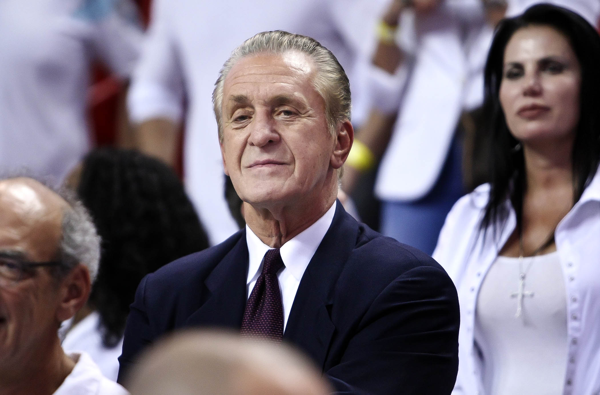 Miami Heat President Pat Riley watching from the stands during the trophy ceremonies of the Eastern Conference Final between the Miami Heat and the Indiana Pacers, Monday June 03, 2013, at American Airlines Miami.(Bill Ingram/Palm Beach Post)