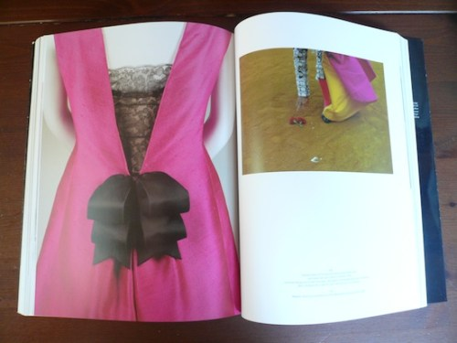 A detail of a deep pink gown from the book Balenciaga and Spain