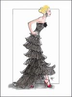 Fashion Illustration of a ruffly black dress by Heather Fonseca