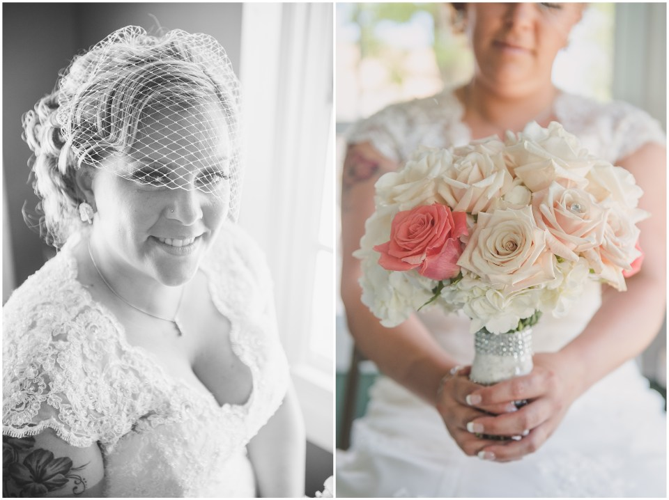 south jersey wedding photographer, bride getting ready portraits, lace back gown, bird cage veil