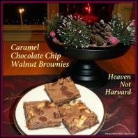 Caramel Chocolate-Chip Walnut Chocolate Brownies - Heaven not Harvard