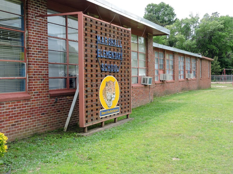 School sign outside Marshall Elementary in Carroll County, Mississippi, which is desperately in need of funding.