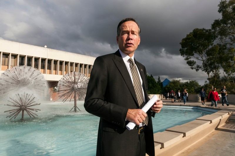 This Monday, Oct. 22, 2012 photo shows King Alexander, then president of California State University, Long Beach, on the campus in Long Beach, Calif.