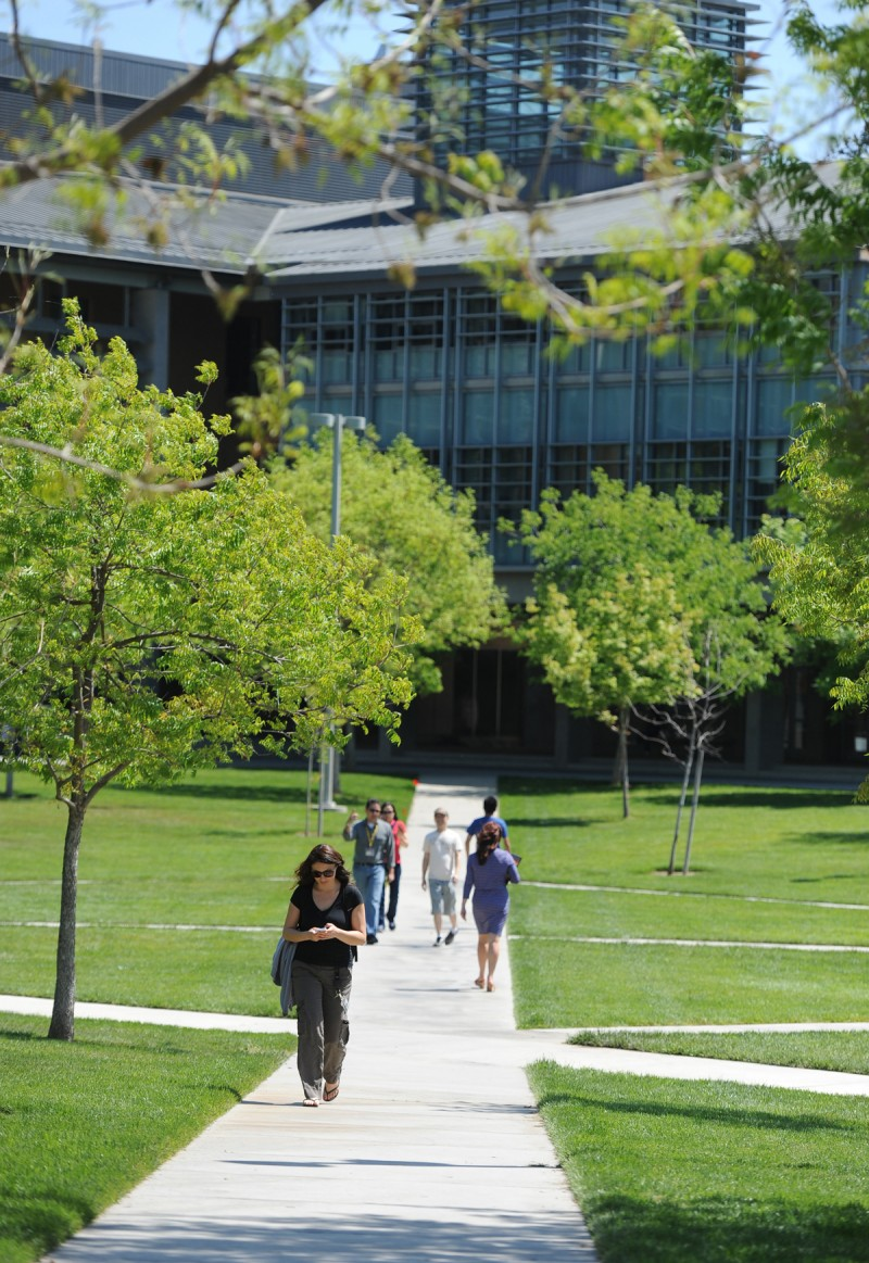 Students walk on campus at UC Merced in Merced, Ca. Monday, April 13, 2015.