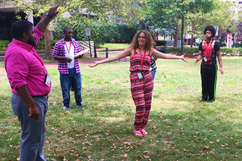 Cooperman Scholar Ashley Sanchez plays an icebreaker game during the program's summer session on Rutgers University-Newark's campus.