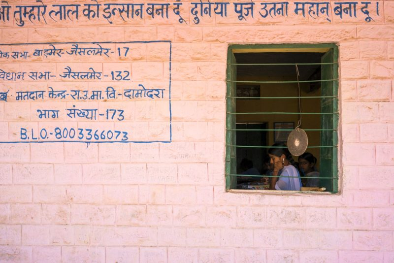 Students study for classes at a government school on the edge of the Thar Desert.