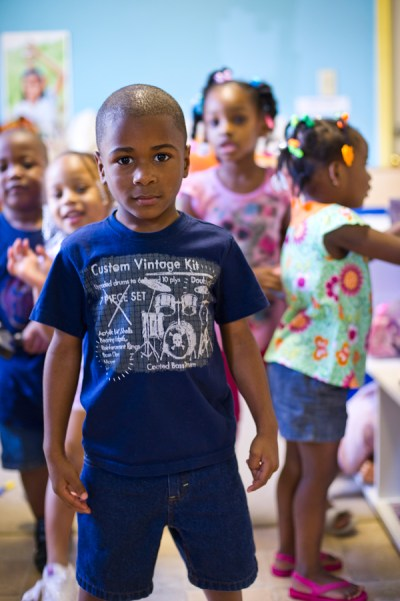 Jadarian Triplett (in front), Kaitlyn White, Antonio First, Aniyah Rodgers and Kimiyah Nuttall at Little Angels Day Care. (Photo by Kim Palmer)