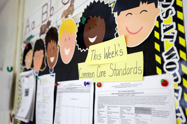 Common Core standards are posted on a bulletin board in a second grade classroom at George Buck Elementary School in Indianapolis.