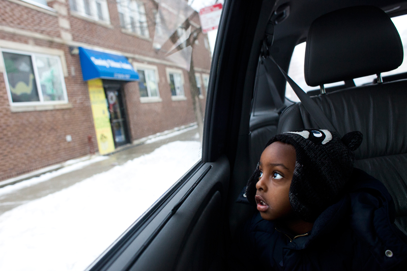 Jared Mainor, 3, gets a ride to the Head Start program at Channing's Childcare Acade-my from Paulette Harvey, his day care provider. (Photo: Armando L. Sanchez)