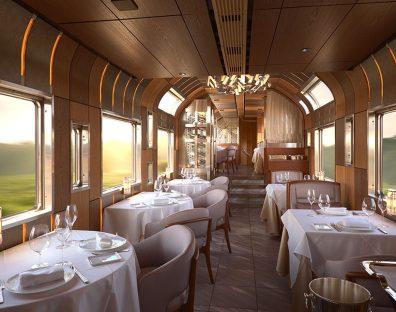 Luksuzni interjer vlaka Shiki-Shima