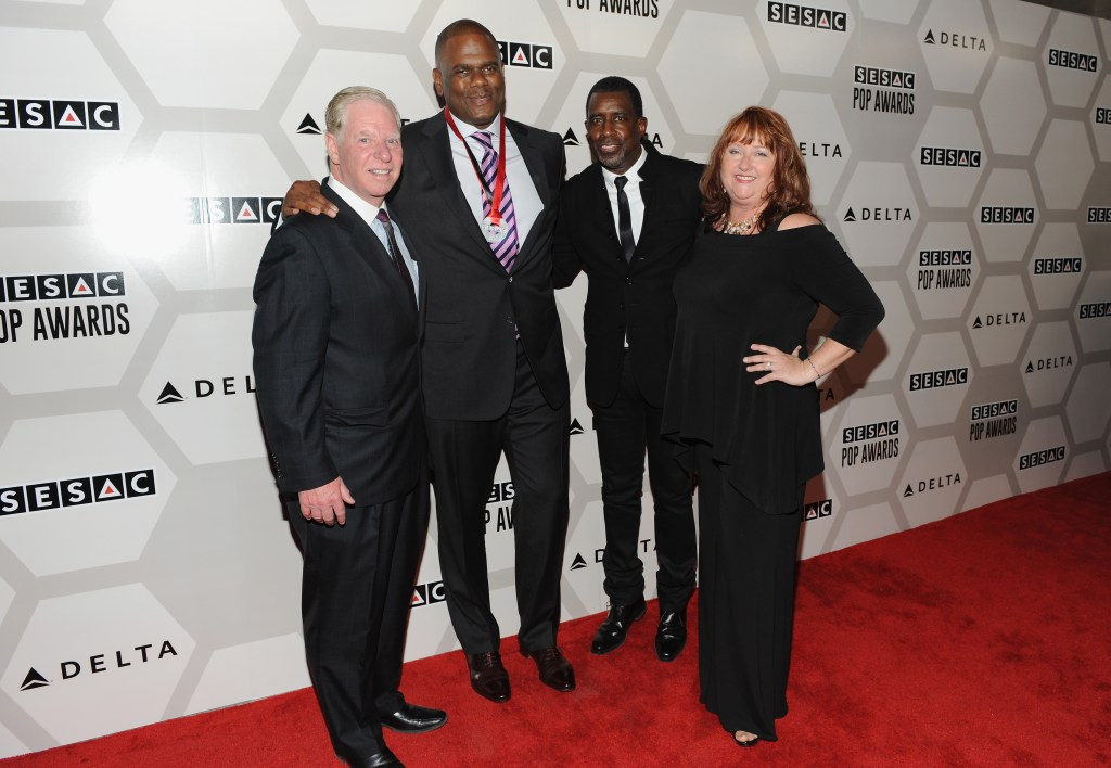NEW YORK, NY - MAY 04:  Pat Collins, President and CEO for SESAC, Jon Platt, Warner/Chappell Music President of North America, SESAC's Trevor Gale and Linda Lorence Critelli attend the 2015 SESAC Pop Music Awards at New York Public Library on May 4, 2015 in New York City.  (Photo by Shawn Ehlers/Getty Images for SESAC) *** Local Caption *** Pat Collins;Jon Platt;Trevor Gale;Linda Lorence Critelli