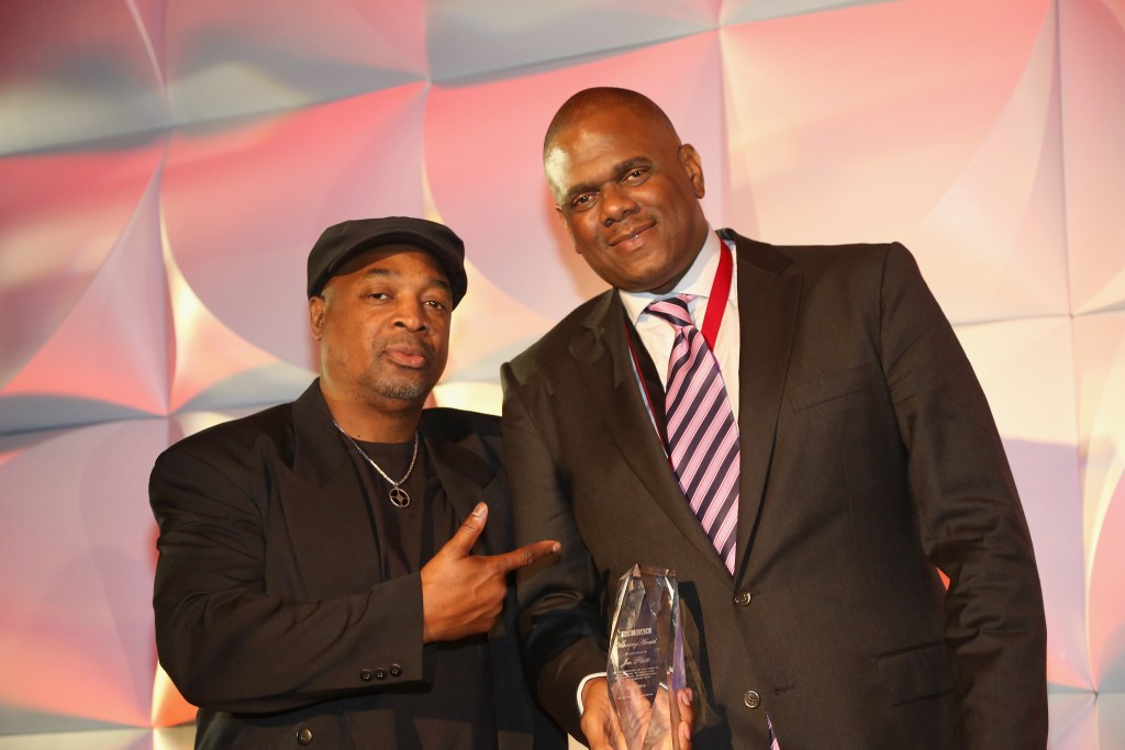 NEW YORK, NY - MAY 04: Rapper Chuck D and Visionary Award winner Jon Platt pose onstage at the 2015 SESAC Pop Music Awards at New York Public Library on May 4, 2015 in New York City.  (Photo by Johnny Nunez/Getty Images for SESAC) *** Local Caption *** Jon Platt;Chuck D