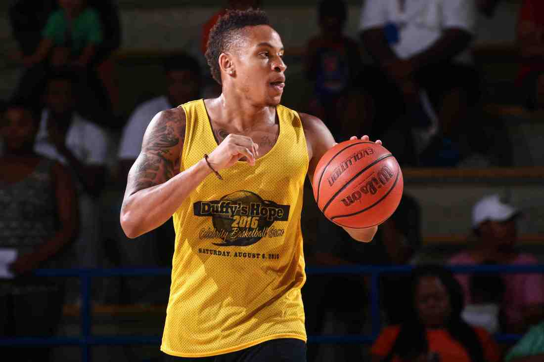Award-winning actor Rotimi dribbles down the court during The 14th annual Duffy's Hope Celebrity Basketball Game Saturday, August 06, 2016, at The Bob Carpenter Sports Convocation Center, in Newark, DEL.    Proceeds will benefit The Non-Profit Organization Duffy's Hope Youth Programming.