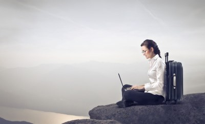 laptop working on a cliff
