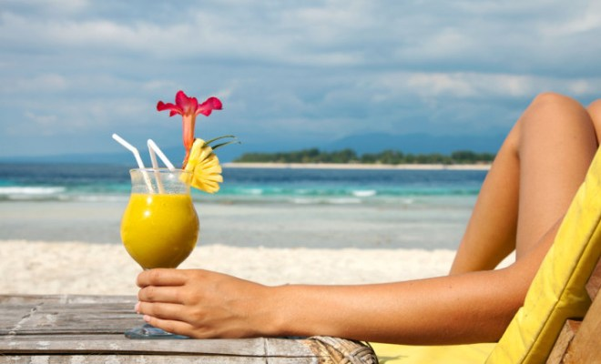 Tropical drink on the beach