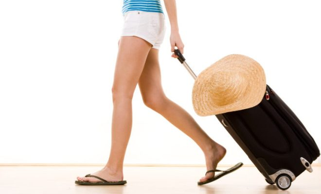 flipflops carry on hat vacation
