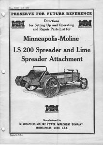 Front cover of owner's manual for Minneapolis Moline LS 200 manure spreader