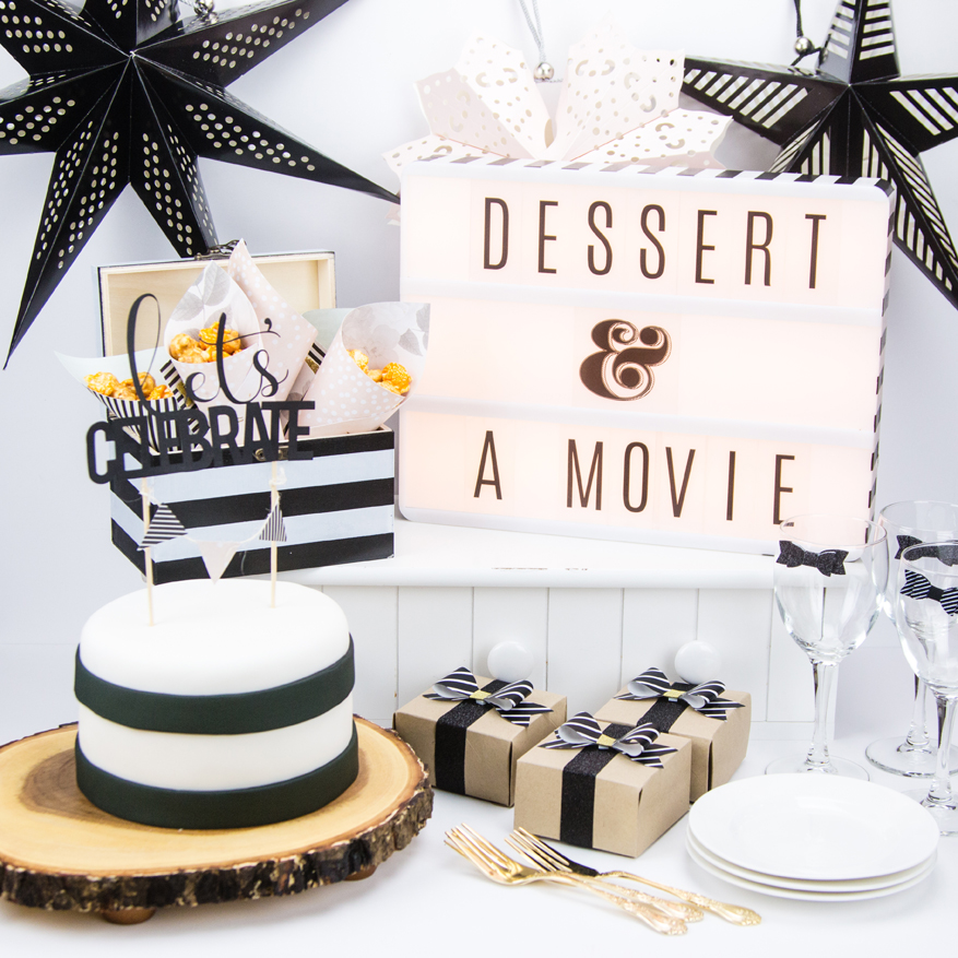 Black and white themed party dessert and a movie by @createoften for @heidiswapp