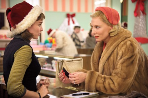 Cate Blanchett bathed in fur, as Carol.
