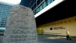 Views of the EU Commission headquarters, Berlaymont, with monument dedicated to Robert Schuman. PHOTO via http://ec.europa.eu/