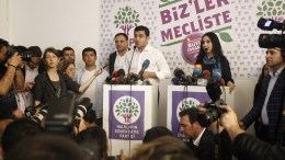 The Co-Chair of the Peoples' Democratic Party (HDP) Selahattin Demirtas speaks during a press conference after initial results of the Turkish parliamentary elections, in Istanbul, Turkey, 07 June 2015. The main pro-Kurdish HDP was polling at 11.5 per cent - granting it the 10-per-cent vote share required to enter parliament for the first time. EPA/ULAS YUNUS TOSUN