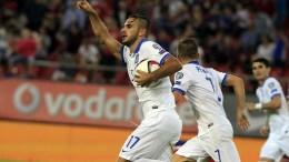 Ο παίκτης της Εθνικής Παναγιώτης Ταχτσίδης πανηγυρίζει μετά την επίτευξη γκολ, κατά τη διάρκεια του αγώνα για το UEFA EURO 2016 ανάμεσα στην Ελλάδα και την Ουγγαρία, την Κυριακή 11 Οκτωβρίου 2015, στο Στάδιο Καραϊσκάκη. Η Ελλάδα νίκησε με σκορ 4 -3. ΑΠΕ ΜΠΕ/ΑΠΕ ΜΠΕ/ΟΡΕΣΤΗΣ ΠΑΝΑΓΙΩΤΟΥ